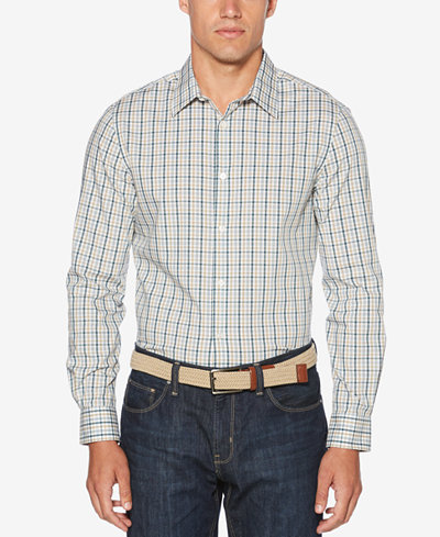 Perry Ellis Men's Non-Iron Multi-Color Mini Plaid Shirt - Casual ...