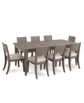 Tribeca Grey Expandable Dining Furniture, 9-Pc. Set (Dining Table & 8 Side Chairs), Created for Macy's