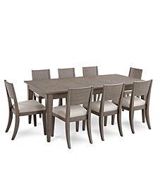 Tribeca Grey Expandable Dining 9-Pc. Set (Dining Table & 8 Side Chairs), Created for Macy's