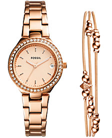 Fossil Women's Blane Rose Gold-Tone Stainless Steel Bracelet Watch 31mm Gift Set