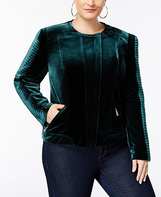 I.N.C. Plus Size Velvet Biker Jacket, Created for Macy's