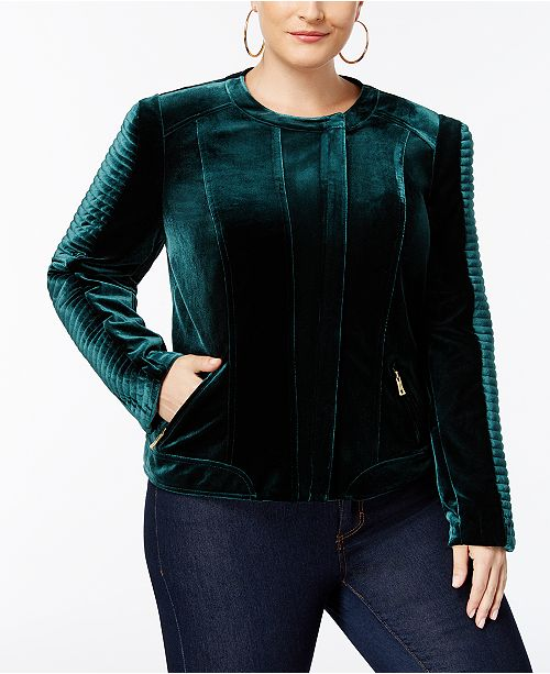 fd2be2f8444 INC International Concepts I.N.C. Plus Size Velvet Biker Jacket ...