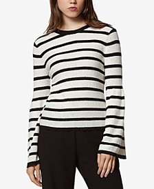 Avec Les Filles Striped Bell-Sleeve Sweater
