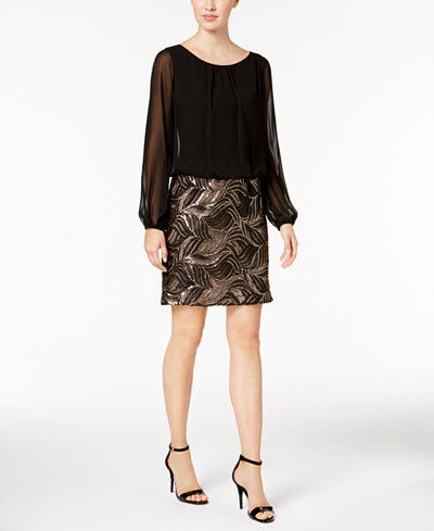 Calvin Klein Chiffon & Sequined Blouson Dress