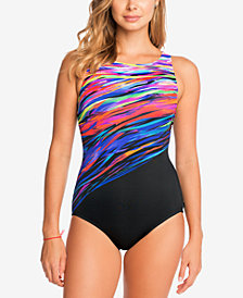 Reebok Northern Light Show Printed Tummy-Control One-Piece Swimsuit