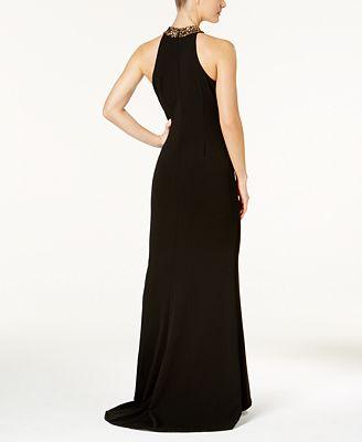Calvin Klein Embellished Crepe Halter Gown Dresses Women Macys