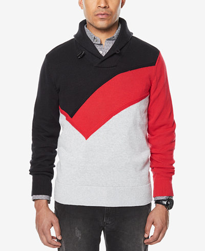 Sean John Men's Colorblocked Shawl-Collar Sweater, Created for Macy's
