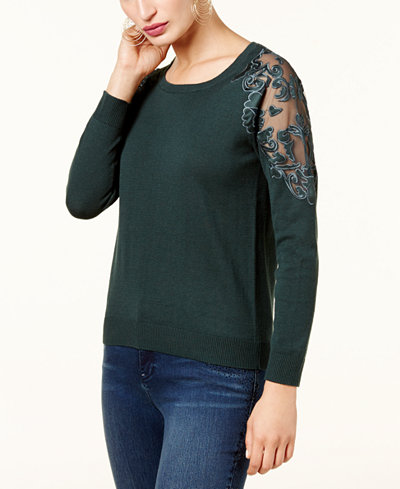 INC International Concepts Lace-Trimmed Sweater, Created for Macy's