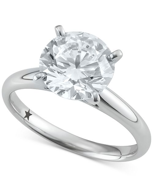 Macy's Star Signature Diamond Solitaire Engagement Ring (3 ct. t.w.) in 14k White Gold