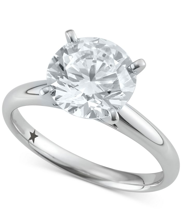 Macy's Star Signature Diamond - Certified ™ Solitaire Engagement Ring (3 ct. t.w.) in 14k White Gold