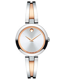 Movado Women's Swiss Aleena Diamond-Accent Rose Gold-Tone PVD & Stainless Steel Bangle Bracelet Watch 27mm