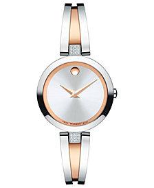 Movado Women's Swiss Aleena Diamond-Accent Rose Gold-Tone PVD & Stainless Steel Bangle Bracelet Watch 27mm