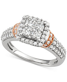 Diamond Square Cluster Engagement Ring (1-1/3 ct. t.w.) in 14k White and Rose Gold