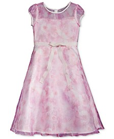 Lavender by Us Angels Illusion-Neck Floral Dress, Little Girls