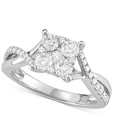 Diamond Cluster Overlap Ring (1 ct. t.w.) in 14k White Gold
