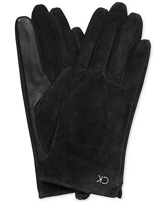 Calvin Klein Leather & Fleece-Lined Smart Gloves