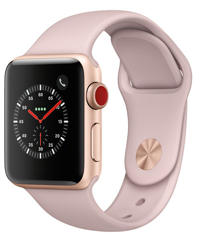 Apple Watch Series 3 (GPS + Cellular), 38mm Gold Aluminum Case with Pink Sand Sport Band