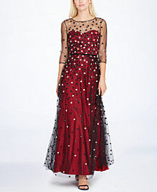Tahari ASL Embroidered Sweetheart Illusion Gown