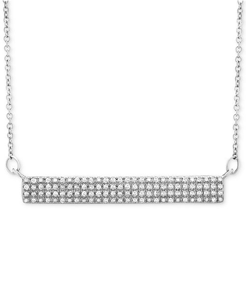 Wrapped Diamond Horizontal Bar Cluster Necklace (1/4 ct. t.w.) in 10k White Gold, Created for Macy's