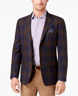 Tallia Men's Slim-Fit Navy/Green/Red Tartan Soft Wool Sport Coat ...
