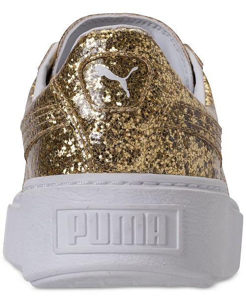 6917acb640d3fd ... Puma Women s Basket Platform Glitter Casual Sneakers from Finish Line  ...
