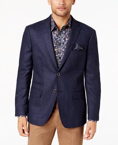 Tallia Men's Slim-Fit Blue/Navy Check Soft Wool Sport Coat