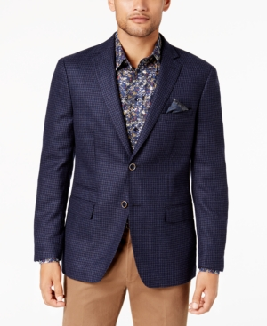 Tallia  MEN'S SLIM-FIT BLUE/NAVY CHECK SOFT WOOL SPORT COAT