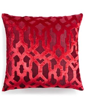 Hallmart Collectibles Red Trellis Jacquard Velvet 18 Square Decorative Pillow Bedding