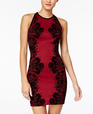 B Darlin Juniors' Flocked Velvet Bodycon Dress