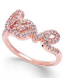 Joan Boyce Crystal Love Script Ring