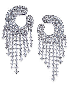 Joan Boyce Silver-Tone Crystal Chandelier Earrings