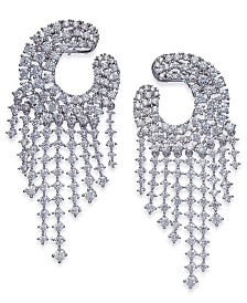 Joan Boyce Silver-Tone Crystal Chandelier Earrings