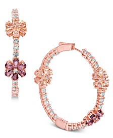 "Joan Boyce Flower Crystal Pavé 1-1/2"" Hoop Earrings"