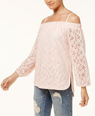 7 Sisters Juniors' Off-The-Shoulder Lace High-Low Top