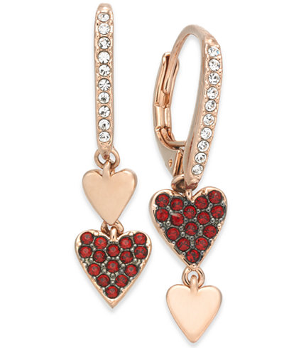 Danori Rose Gold-Tone Pavé Heart Mismatch Earrings, Created for Macy's