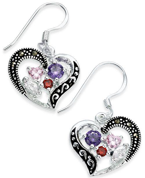 Macy's Marcasite & Cubic Zirconia Heart Drop Earrings in Fine Silver-Plate