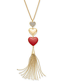 Thalia Sodi Gold-Tone Pavé Triple-Heart & Chain Tassel Y-Necklace, Created for Macy's
