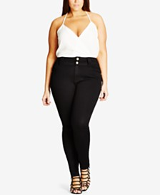 City Chic Trendy Plus Size Adjustable-Waist Skinny Jeans
