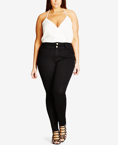 City Chic Trendy Plus Size Adjustable-Waist Skinny Jeans