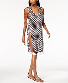 MICHAEL Michael Kors Lace-Up Midi Cover-Up Dress