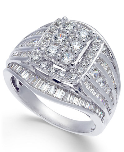 Diamond Cluster Statement Ring (2 ct. t.w.) in 14k White Gold