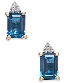 London Blue Topaz (2-9/10 ct. t.w.) & Diamond Accent Drop Earrings in 14k Gold