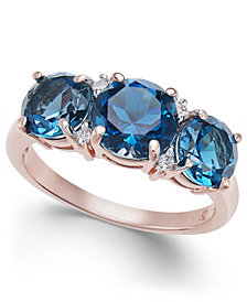 London Blue Topaz (3-3/4 ct. t.w.) & Diamond Accent Ring in 14k Rose Gold