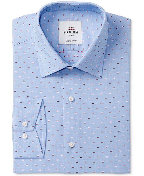 Ben Sherman Men's Slim-Fit Blue & Red End on End Dress Shirt