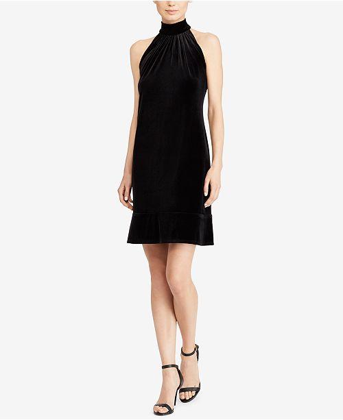 American Living Velvet Mock-Neck Dress