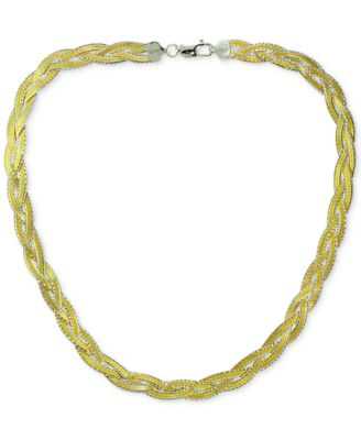 Two-Tone Braided Collar Necklace in 18k Gold-Plated Sterling Silver, Created for Macy's