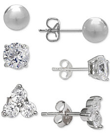 Giani Bernini 3-Pc. Cubic Zirconia Stud Earring Set in Sterling Silver, Created for Macy's