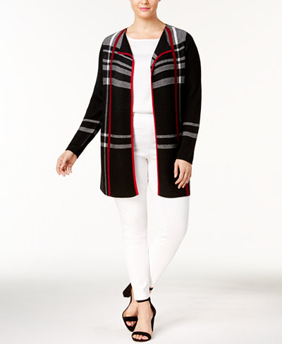 Charter Club Plus Size Plaid Duster Cardigan, Created for Macy's