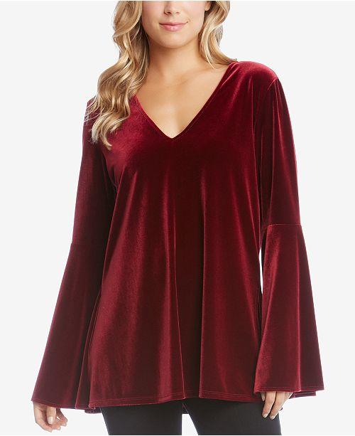 26b9a48d5d0d Karen Kane Velvet Bell-Sleeve Top & Reviews - Tops - Women - Macy's