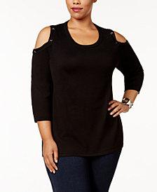 Love Scarlett Plus Size Cold-Shoulder Sweater